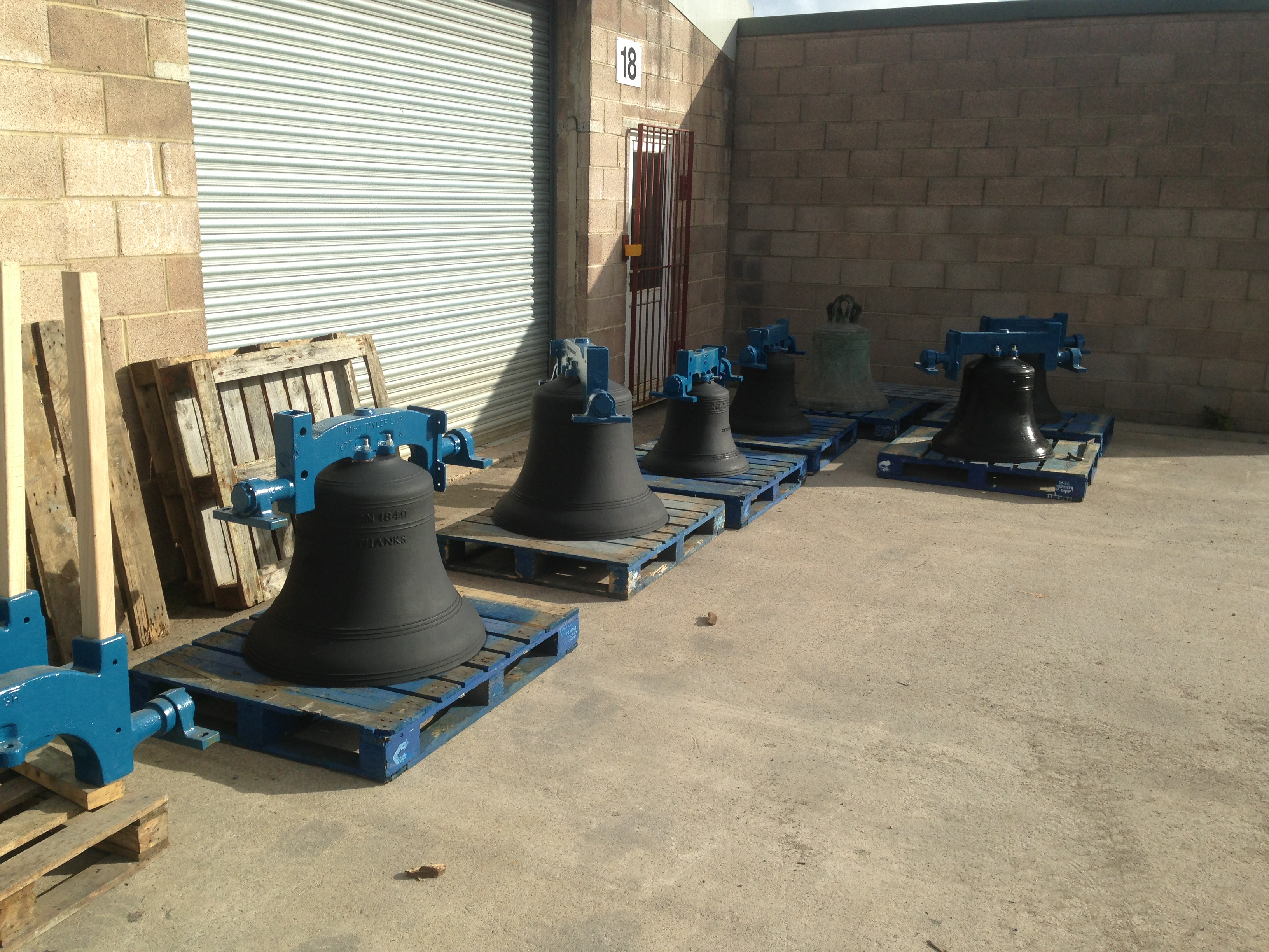Some of the new bells waiting to be returned to Alderney