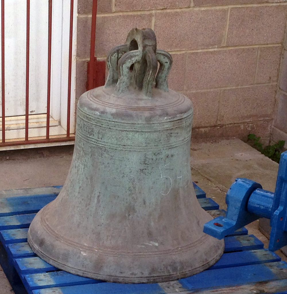 The 15th century Sanctus Bell. It was cast in Bury St Edmunds by Reginald Churche and donated by St Helen's Church in Ipswich.